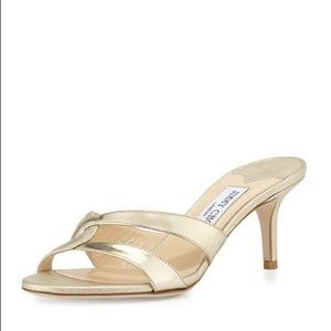 Jimmy choo tation leather gold mule sandals sz 38